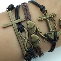 Telesthesia Lovers bracelet--Ancient bronze 8 infinity wish, cross and anchor ,black  wax rope and brown leather braided leather bracelet