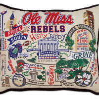 University of Mississippi Embroidered Pillow