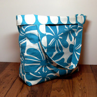 Extra Large Tote - Reversible Beach Bag - Teal Turquoise White - Floral Polka Dots - Summer Beach Bag - Made To Order - Beach Tote Bag