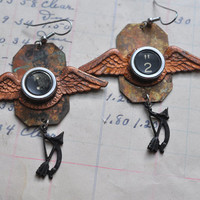 Steampunk Earrings with Vintage Typewriter Keys and Bow and Arrow Charms
