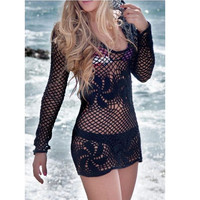 Crochet Cotton Beach Hoodie Dress Lace Cover Up Made to Order in any size and color