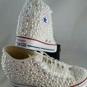 CREYUG7 Wedge Bridal Converse- Wedding Converse- Bling & Pearls Custom Converse Sneakers- Pers