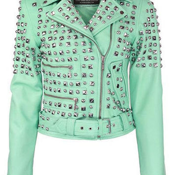 Studded Leather Jacket [SEAFOAM]
