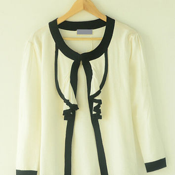 Contrast Ruffled Neck Long Sleeve Cardigan