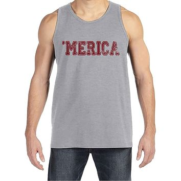 Custom Party Shop Men's Merica 4th of July Grey Tank Top