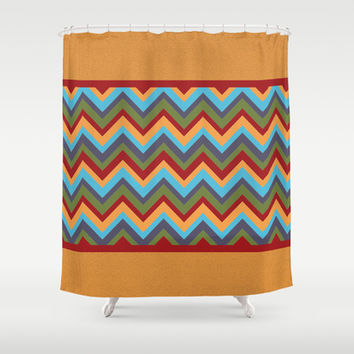 Bold Red, Yellow, Green, Blue, Purple Chevron Shower Curtain by tsuttles