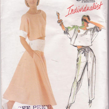 Vintage 1980s ADRI Individualist pattern for flared skirt, tapered pants and cropped top misses size 14 Vogue 1524 CUT and COMPLETE