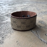 Small Width Cuff Bracelet Made From Upcycled Vintage Gucci Micro GG