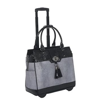"""THE VERONA"" Python and Alligator Rolling Laptop Tote Holdall Bag"