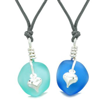 Twisted Twincies Heart Small Sea Glass Lucky Charm Love Couples BFF Set Ocean and Aqua Blue Necklaces