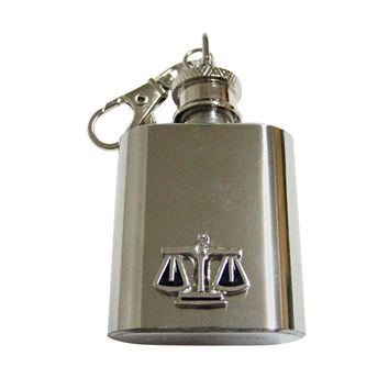 Black and Silver Toned Scale of Justice Law Keychain Flask