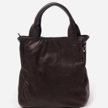 Chocolate Side Stitch Medium Leather Tote. Coffee Genuine Leather Handbag. Weekends Bag