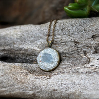 PETITE Celestite Necklace - Crushed Stone Jewelry - Boho Chic Bohemian Jewelry - Gemstone Necklace - Blue Crystal Necklace Celestite Jewelry
