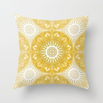 Orange Mandala Throw Pillow by Stefanie Juliette