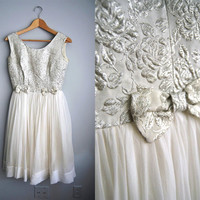 The Silver Winter - Vintage 50s Party Prom Dress White Silver Brocade Chiffon Tool Skirt