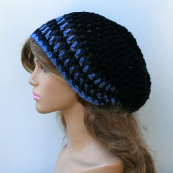 Slouchy beanie, Crochet open stitch navy and denim blue Cotton Sock Dread Tam