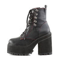 Assault 100 Gothic Punk Heel Cleat Platform Red Stitch Ankle Boot 6-11