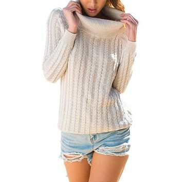[14677] Cut Out Back Turtleneck Pullover