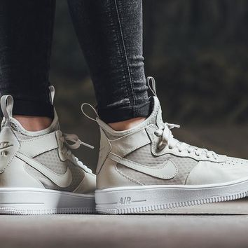 Nike Air Force 1 Ultraforce Mid 864025 Grey For Women Men Running Sport Casual Shoes Sneakers