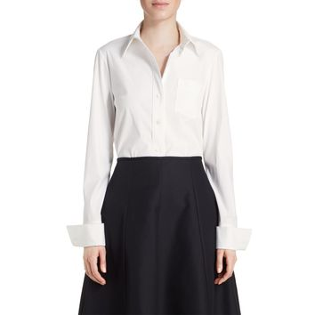 Michael Kors White Poplin French Cuff Shirt - White Blouse - ShopBAZAAR