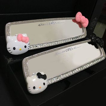 MUNIUREN 1pcs Hello Kitty Car Diamond Interior Rearview Mirror Decoration Crystal Car Rearview Mirror for Girls Auto Accessories