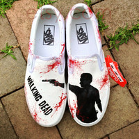 Hand Painted Walking Dead Zombie Shoes--Vans Slip-on Shoes or Vans Authentic Walking Dead inspired Shoes. Hand painted