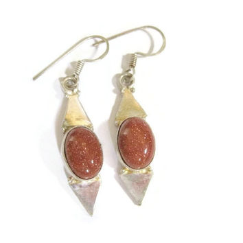 Sterling Goldstone Dangle Earrings