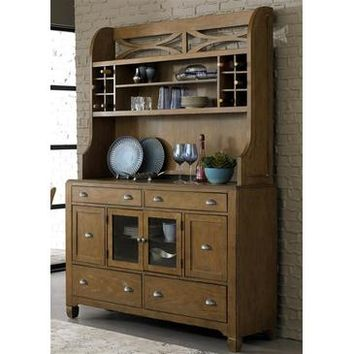 Liberty Furniture Town & Country Hutch & Buffet in Distressed Sandstone w White