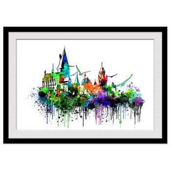 Hogwarts castle watercolor poster, Harry Potter, Hogwart colorful print, castle illustration, home decoration, nursery, kid room gift, W100