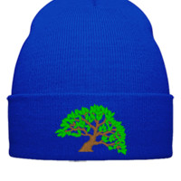tree design Bucket Hat - Beanie Cuffed Knit Cap