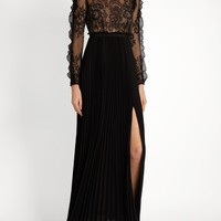 Black Lace And Pleated Crepe Maxi Dress