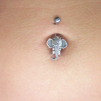 Silver Elephant Belly Button Jewelry