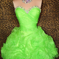 Lime Green SHORT PARTY COCKTAIL EVENING PROM WEDDING GOWN DRESS
