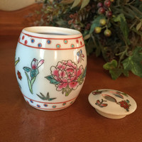 Floral Vintage Chinese Ginger Jar/Small Ginger Jar/Miniature Ginger Jar