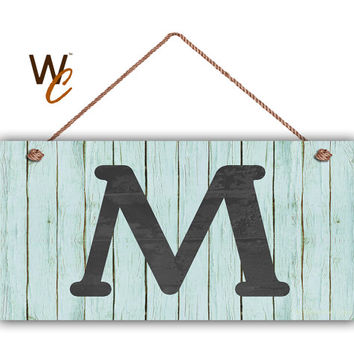 "Rustic Letter Sign, Personalized Sign, Choose Monogram Letter, Vintage Blue Wood Slat Style, Housewarming Gift, 5"" x 10"" Sign, Made To Order"
