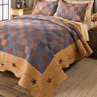3-Pc Abigail Full/Queen Embroidered Quilt And Pillow Sham Set Printed Patchwork