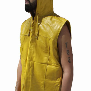 Mens Leather Shirt Yellow Hooded Hoodie Zip up Sleeveless Tee Nappa Sheepskin