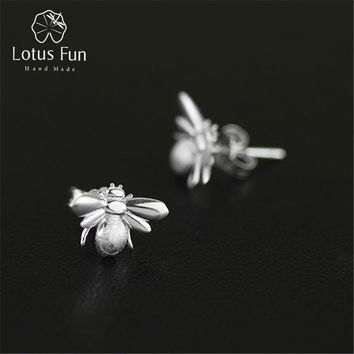 Lotus Fun Real 925 Sterling Silver Natural Original Handmade Designer Fine Jewelry Cute Honeybee Stud Earrings for Women Brincos