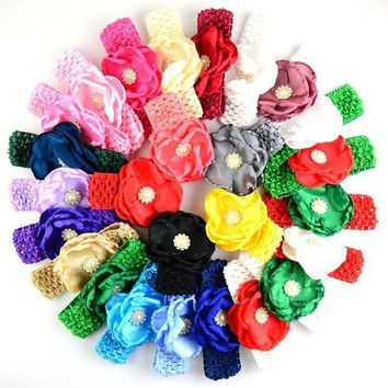 PEAP78W 156pcs/lot  4cm Crochet  Headbands with Shabby Flowers For Girls Christmas style Hair Bow for Hair Accessory FDA100