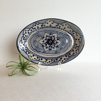 Gorgeous Vintage Stoneware Hand Painted Oval Serving Platter