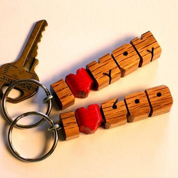 Oak Wood Name - i Heart Keychain - Any Name Up to 11 Letters - Made to Order in the USA