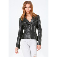 FAUX LEATHER PEPLUM JACKET