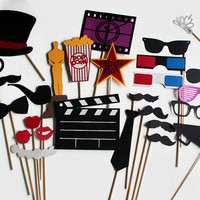 Movie Photo Booth Props - Hollywood Glamour Collection perfect for oscar bash, hollywood party, cinema birthday or a fun movie night