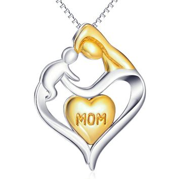 ROMAD Mother And Child Pendant Gift For Mom Gold Color Heart Love Mother's Day Gift Pendant Necklace Mom Family Jewelry R4