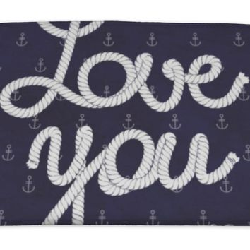Bath Mat, Love You So Much Nautical Typography Poster