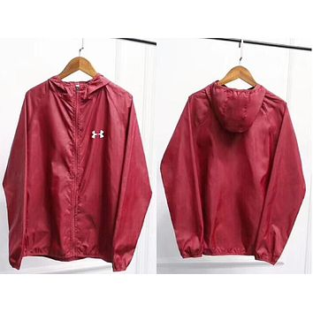 """Under Armour"" Fashion Women Men Hoodie Zipper Cardigan Sweatshirt Coat Jacket Windbreaker Sportswear(10-Color) Red I-AA-XDD"