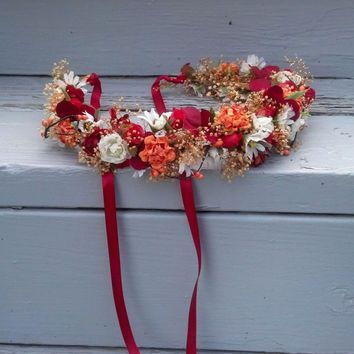 Bridal Floral Crown Woodland Dried Flower hair Wreath orange Red Bridal headpiece Renaissance halo wedding accessories spring circlet fall