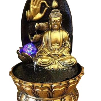 Golden Buddha With Rock Background Water Fountain