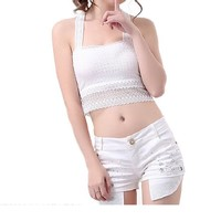 Encounter Womens Transparent Lace Chest Wrapped Crop Tank Crop Top,White