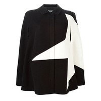 Splicing Amice Spell Color Black White five-pointed Star Cloak Woolen Coat